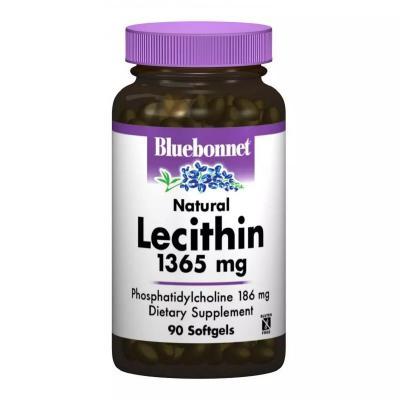 Натуральный лецитин, Natural Lecithin, Bluebonnet Nutrition, 1365 мг, 90 капсул