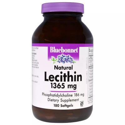 Натуральный лецитин, Natural Lecithin, Bluebonnet Nutrition, 1365 мг, 180 капсул