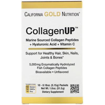 CollagenUP, морской коллаген с гиалуроновой кислотой и витамином С, без запаха, California Gold Nutrition, 10 пакетов, 0,18 унции (5,15 г) каждый