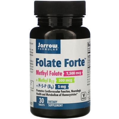 Метилфолат + метил B12 + P-5-P, Jarrow Formulas, Folate Forte, 30 таблеток