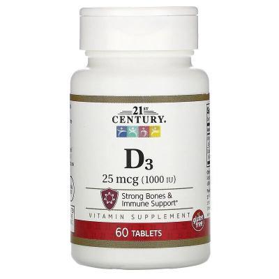 Витамин Д-3, D3, 21st Century, 25 мг (1000 МЕ), 60 таблеток
