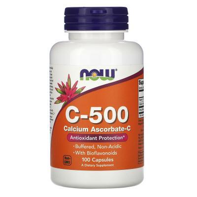 Аскорбат кальция, витамин С, C-500, Calcium Ascorbate-C, Now Foods, 100 капсул
