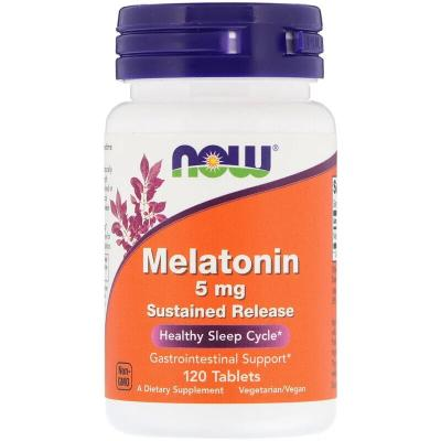 Мелатонин, Melatonin, Now Foods, 5 мг, 120 капсул