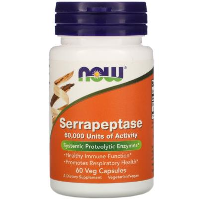 Серрапептаза, Serrapeptase Proteolytic Enzyme, Now Foods, 60 000 SPU, 60 растительных капсул
