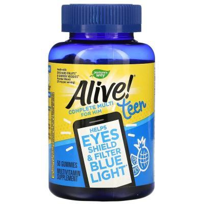 Витамины для мальчиков-подростков, Alive! Teen Multi for Him,  Nature's Way, 50 жевательных конфет