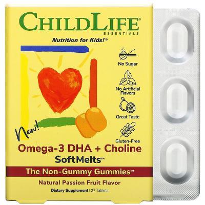 Омега-3, ДГК + холин, для детей, вкус маракуйи, Omega-3 DHA + Choline SoftMelts, ChildLife, 27 таблеток