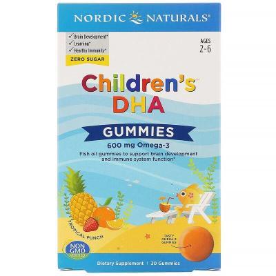 ДГК, вкус тропических фруктов, Children's DHA, Nordic Naturals, 600 мг, 30 жевательных таблеток