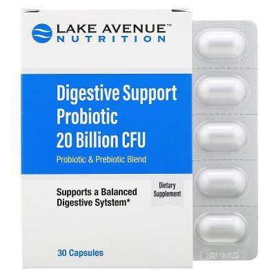 Пробиотики для поддержки пищеварения, Lake Avenue Nutrition, 20 млрд КОЕ, 30 капсул