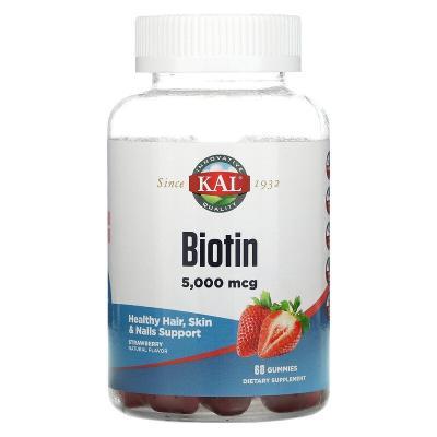 Биотин, вкус клубники, Biotin, KAL, 5 мг, 60 пастилок
