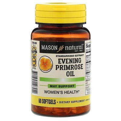Масло вечерней примулы, Evening Primrose Oil, Mason Natural, 1000 мг, 60 капсул