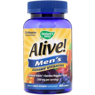 Мультивитамины для мужчин со вкусом фруктов, Alive! Nature's Way, 60 жевательных таблеток