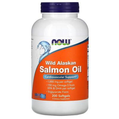 Жир дикого аляскинского лосося, Wild Alaskan Salmon Oil, Now Foods, 200 мягких капсул