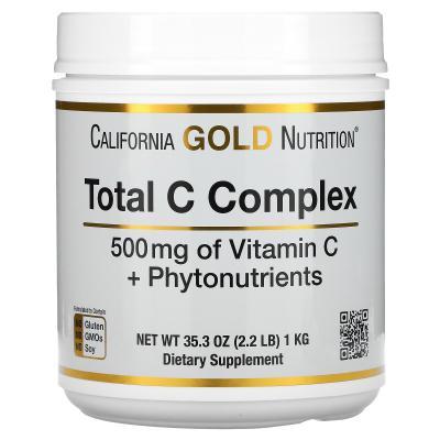Комплекс с витамином C + фитонутриенты, Total C, California Gold Nutrition, 500 мг, 1 кг