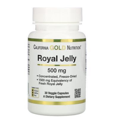 Маточное молочко, концентрированное и сублимированное, Royal Jelly, California Gold Nutrition, 500 мг, 30 вегетарианских капсул