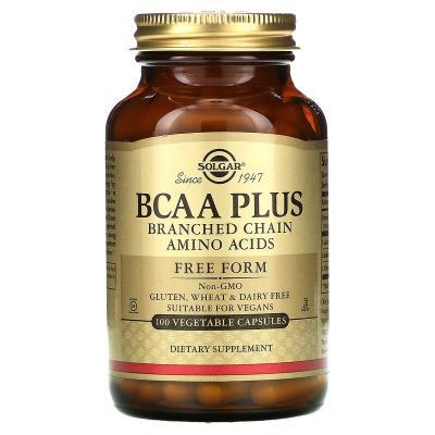 Аминокислоты BCAA в свободной форме, BCAA Plus, Solgar, 100 растительных капсул