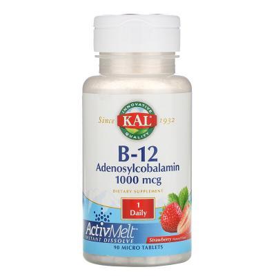 Витамин B-12 Аденозилкобаламин, B-12 Adenosylcobalamin, KAL, вкус клубники, 1000 мкг, 90 микротаблеток