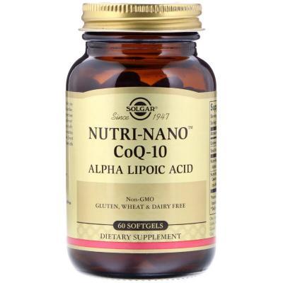Коэнзим Q10 и альфа липоевая кислота, Nutri-Nano CoQ-10 Alpha Lipoic Acid, Solgar, 60 капсул