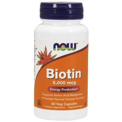 Биотин, Biotin, Now Foods, 5000 мкг, 60 капсул