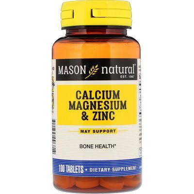 Кальций, магний, цинк, Calcium Magnesium & Zinc, Mason Natural, 100 таблеток