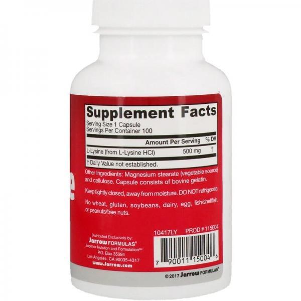 Лизин, L-Lysine, Jarrow Formulas, 500 мг, 100 капсул