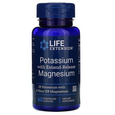 Калий с магнием, Potassium with Extend-Release Magnesium, Life Extension, 60 вегетарианских капсул