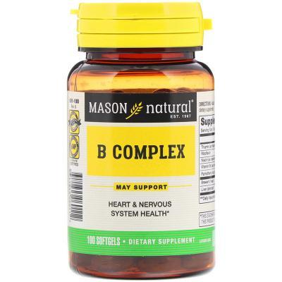 Комплекс B, B Complex, Mason Natural, 100 мягких таблеток
