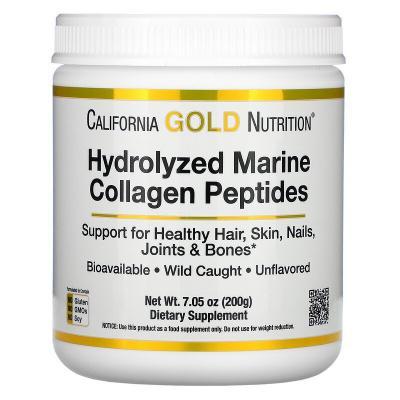 Пептиды из морского коллагена премиального качества, Hydrolyzed Marine Collagen Peptides, California Gold Nutrition, 500 г