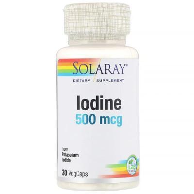 Йодид калия, Iodine, Solaray, 500 мкг, 30 растительных капсул