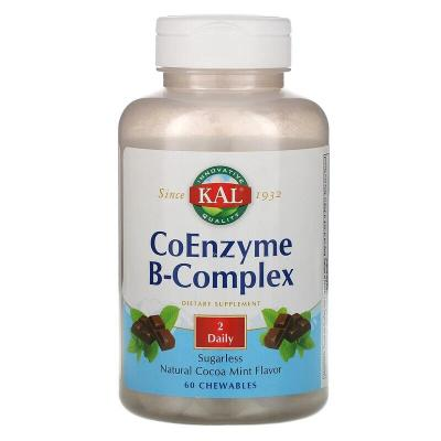 Коферментный B-комплекс, натуральная мята и какао, CoEnzyme B-Complex, KAL, 60 жевательных таблеток