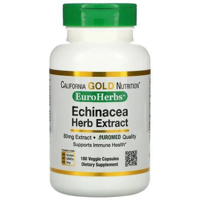 Экстракт эхинацеи, California Gold Nutrition, EuroHerbs, 80 мг, 180 вегетарианских капсул