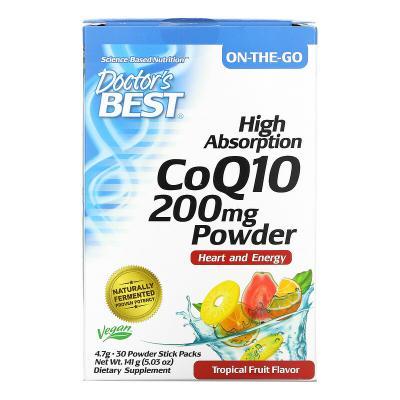 Порошок с высоким содержанием коэнзима Q10, тропические фрукты, 200 мг, Doctor's Best, 30 упаковок в виде порошка в стиках по 4,7 г каждая