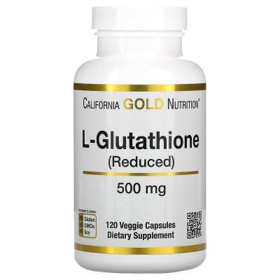L-глутатион, восстановленный, L-Glutathione (Reduced), California Gold Nutrition, 500 мг, 120 растительных капсул