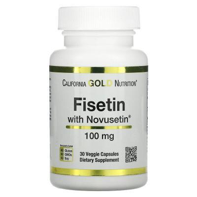 Физетин, Fisetin with Novusetin, California Gold Nutrition, 100 мг, 30 растительных капсул