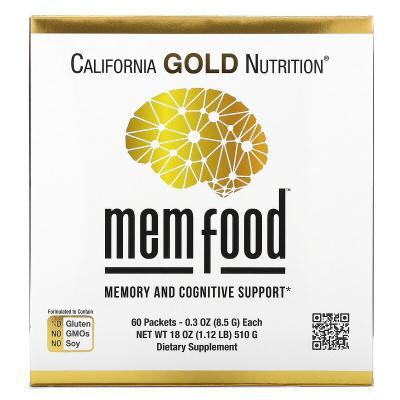 Поддержка памяти и когнитивных функций, MEM Food, Memory and Cognitive Support, California Gold Nutrition, 60 пакетов по 8,5г