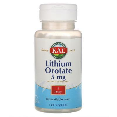 Литий оротат, Lithium Orotate, KAL, 5 мг, 120 вегетарианских капсул