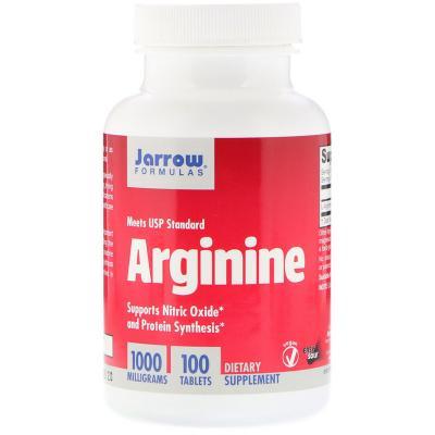 Аргинин, Arginine, Jarrow Formulas, 1000 мг, 100 таблеток