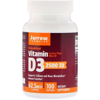 Витамин Д3 (холекальциферол), Vitamin D3, Jarrow Formulas, 2500 МЕ, 100 капсул
