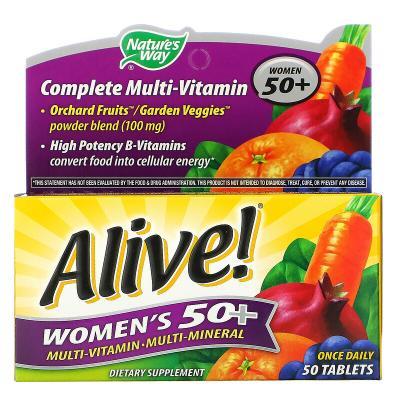 Мультивитамины для женщин 50+, Alive! Women's 50+ Energy Multivitamin-Multimineral, Nature's Way, 50 таблеток