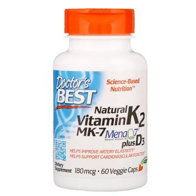 Витамин K2 MK-7 с MenaQ7 и Д3, Vitamin K2 MK-7 with MenaQ7 plus D3, Doctor's Best, 180 мкг, 60 капсул