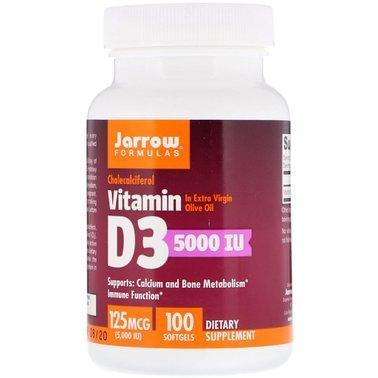 Витамин Д3, Vitamin D3, Jarrow Formulas, 5000 МЕ, 100 капсул