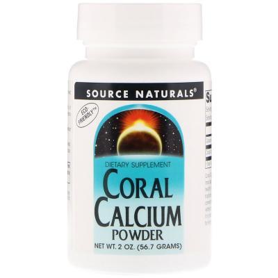 Кальций из кораллов, порошок, Coral Calcium Powder, Source Naturals, 2 унции (56,7 г)
