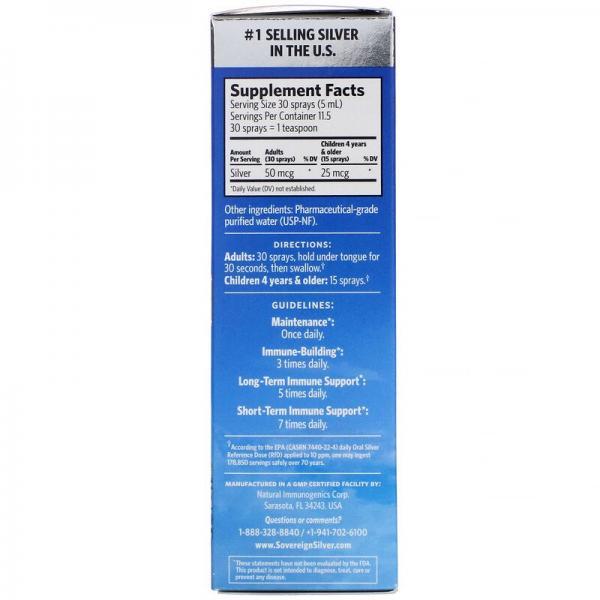 Серебро, Bio-Active Silver Hydrosol, мелкодисперсный аэрозоль, Sovereign Silver, 10 част./млн, 59 мл