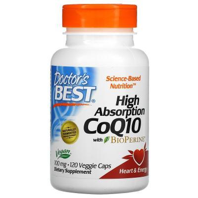 Коэнзим Q10 с высокой степенью всасывания с биоперином, CoQ10 with BioPerine, Doctor's Best, 100 мг, 120 вегетарианских капсул