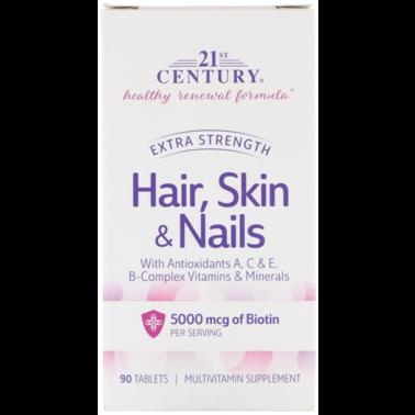 Усиленная формула для волос, кожи и ногтей, Extra Strength, 21st Century, 90 таблеток