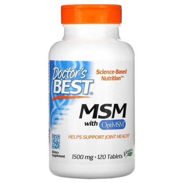 Метилсульфонилметан, МСМ, MSM with OptiMSM, Doctor's Best, 1500 мг, 120 таблеток