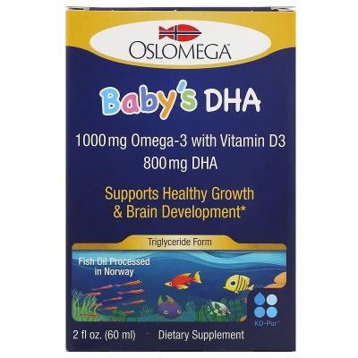 Норвежская серия, докозагексаеновая кислота (ДГК) с витамином D3 для детей, Oslomega, 60 мл