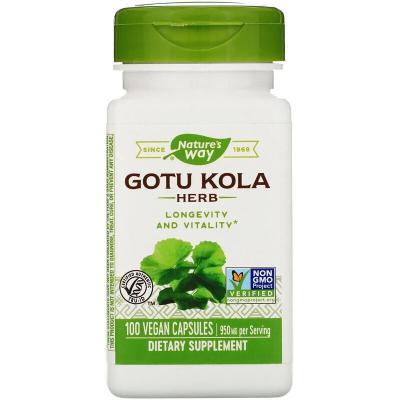 Центелла азиатская, Nature's Way, Gotu Kola Herb, 950 mg, 100 Vegan Capsules
