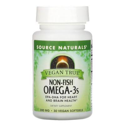 Истинно Веган, Омега-3s, не рыбного происхождения, Source Naturals, 300 мг, 30 веганских капсул
