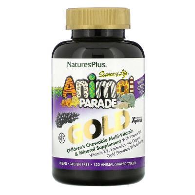 Мультивитамины для детей, вкус винограда, Animal Parade Gold, Natures Plus, 120 жевательных таблеток