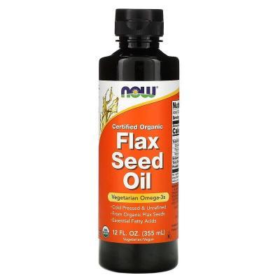Сертифицированное органическое льняное масло, Flex Seed Oil, Now Foods, 355 мл (12 жидких унций)